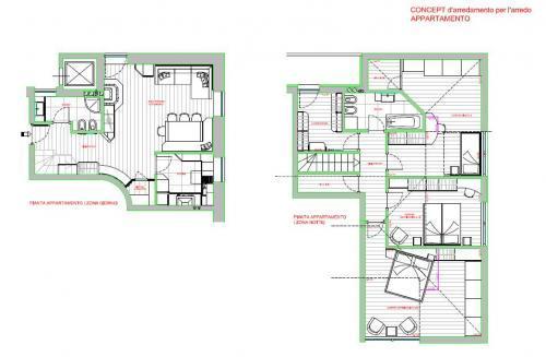 Appartamento su due piani. Cucina, soggiorno, tre camere, due bagni